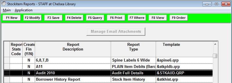Stockitem Reports window